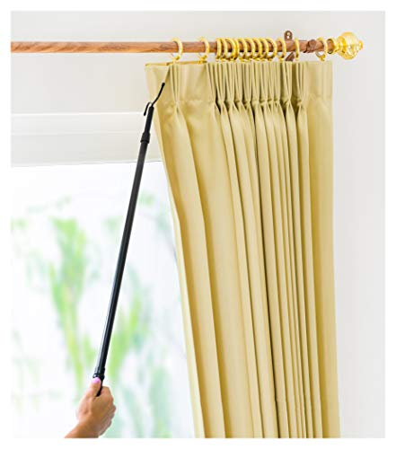 Drapery Pull Rod - the Original 36-62' Universal Telescoping Drapery Pull Rod and Adjustable Curtain Wand for Easier Opening and Back Doubles as a Clothes Hook Hanger for Closet Storage Organization