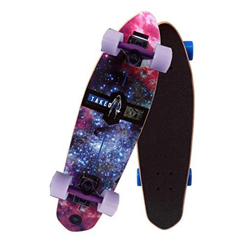 Skateboard Komplett Board Deck Skateboard komplettes Skateboard 26x7 Zoll, professionelles Shortboard Maple Double Bearing Skateboard Slot Adult Stunt Skateboard Adult, 7 Layer Deck Short Skateboard