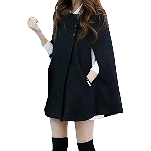 Fantastic Prices! Dacawin Women Plus Size Fashion Solid Cloak Button Mid Long Coat Shawl Windbreaker