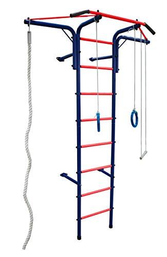 Aeroplan STM-Sport | Sprossenwand Kletterwand für Kinderzimmer | Blau - Rot | Kinderturngerät| Wandmontage | Klettergerüst | Trainingsgerät | Gymnastics | Bis Zu 100 kg | Heimsportgerät