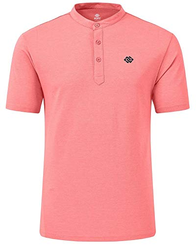 AIRIKE Golf Polo Shirt for Men Dry Fit Cotton Mens Henley Collarless Shirts Short Sleeve Casual Workwear Pink