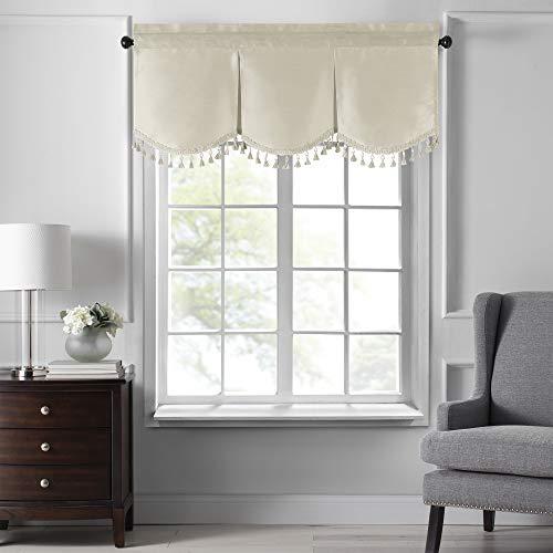 "Elrene Home Fashions Colette Faux Silk Tassel Scallop Window Valance, 48"" x 21"", Ivory"