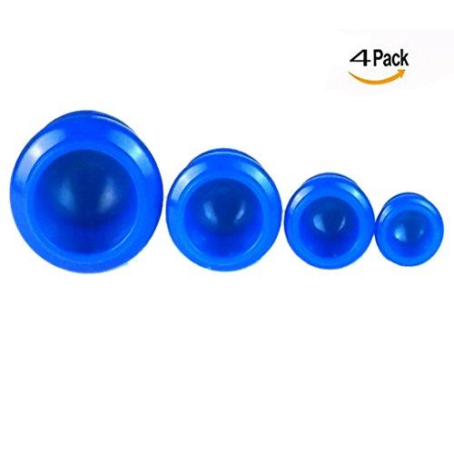 OFKPO Anti-cellulitis cups, 4 stuks, siliconen cups, voor spierzores, schoonheidstherapie, massageapparaat (blauw)