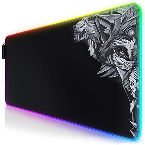 TITANWOLF LED Alfombrilla para ratón XXL Gaming Mouse Pad 800x300 mm RGB...