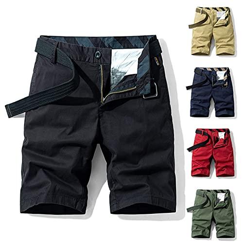 2021 Pantalones cargo para hombre, de verano, monocolor, con bolsillos, azul oscuro, 34
