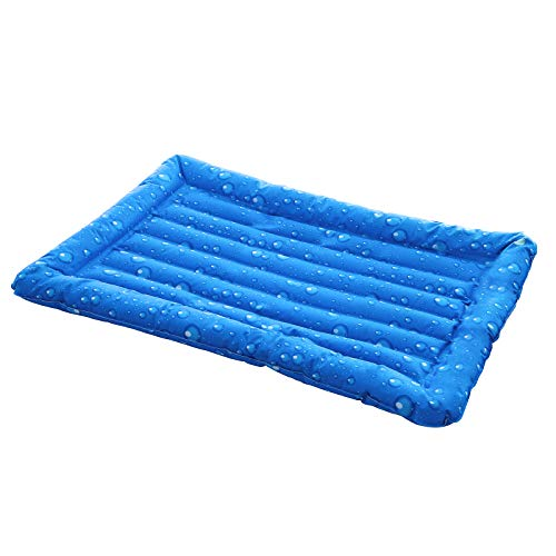 FEANDREA Kühlmatte für Hunde und Katzen, hoher Rand, robust, blau PGW36B