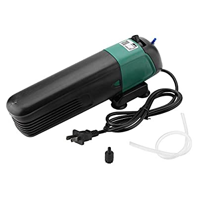 HEEPDD Filtre d'aquarium, 3 en 1 Filtre de stérilisateur UV de Cartouche filtrante Submersible de Pompe à air d'oxygène avec Ventouse pour la Circulation d'aération de Filtration 220-240V
