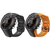TiMOVO Silikon Armband Kompatibel mit Suunto Ambit 3,2 Stück Farbig Replacement Uhrenarmband Erstatzband mit Werkzeug und Schrauben Sportarmband, Schwarz & Orange