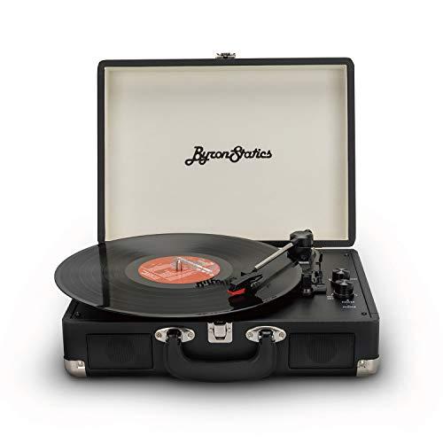 Byron Statics Tocadiscos, tocadiscos Bluetooth de 3 velocidades con altavoces estéreo integrados, aguja de repuesto, salida de línea RCA, entrada auxiliar, maleta portátil vintage negra