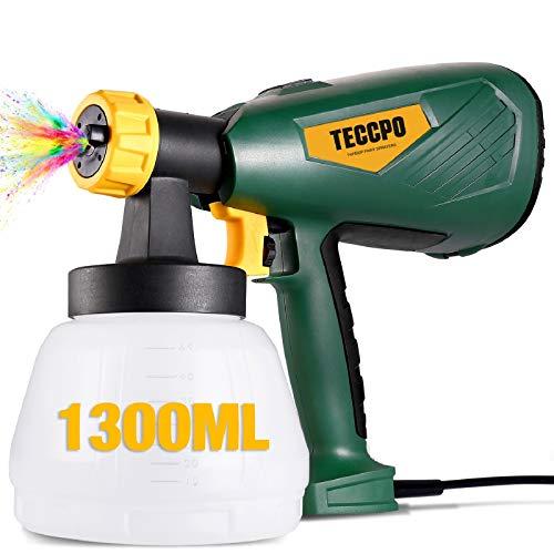 TECCPO Pistola de pintura, Nueva Actualización 2021, Gran Capacidad 1300ML, 500W, 3 modos de pulverización, 4 boquillas (1,3 mm, 1,8 mm, 1,8 mm, 2,6 mm) y 3 filtros, Fácil de Pulverizar
