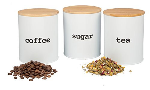 Kitchen Canister Set with Air Tight Bamboo Lids- 3 Food Storage Containers for Coffee, Tea and Sugar