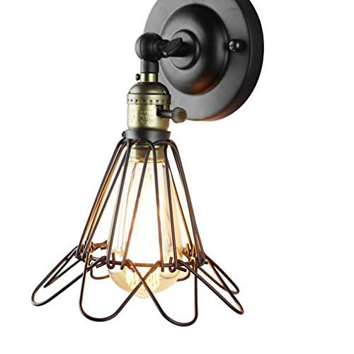 Applique Murale E27 Lampe Murale Industrielle Fil Panier Cage Cage avec Interrupteur Rétro Vintage Design Métal Fer Luminaire Edison Intérieur Décoratif Éclairage Lampe de Chevet Couloir Balcon Bar