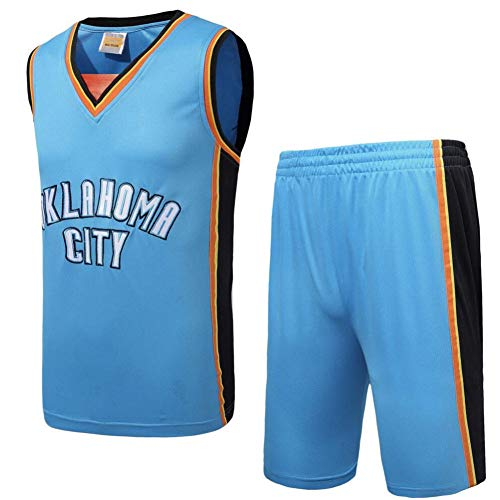 SSRSHDZW NBA Pallacanestro Jersey Tuta Ricamato Thunder Team Jersey Suit Retro Estate Basket Uniforme Maschio, Blu, S