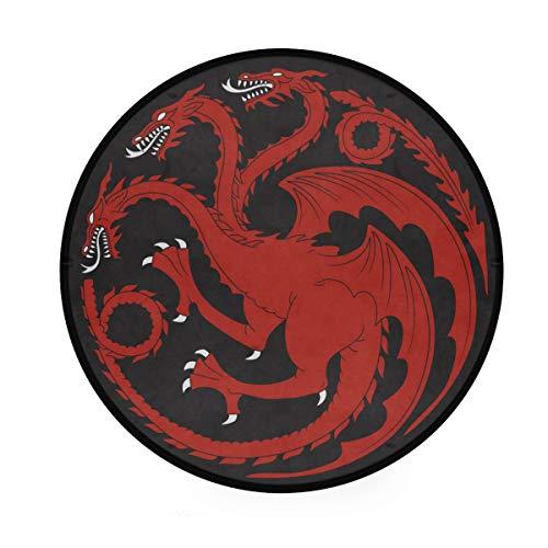 Mr.Lucien Tapis rond à trois têtes - Dragon rouge - Silhouette créative - Tapis de sol doux et rond - À placer devant la douche, la baignoire, l
