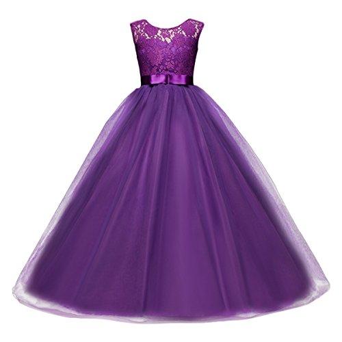 IBTOM CASTLE Vestido de niña de Flores para la Boda Niños Largo Gala Encaje De Ceremonia Fiesta Elegantes Comunión Púrpura 10-11 años