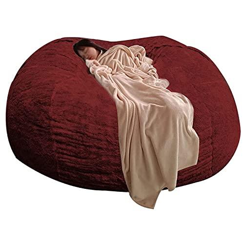 ZCED Sillas Big Bean Bag para Adultos,Sillas Bean Bag de 7 Pies para Adultos,(Sin Relleno) Silla Cómoda y Duradera Puf de Piel PV Sofás Sofá de Piel Sintética,Winered