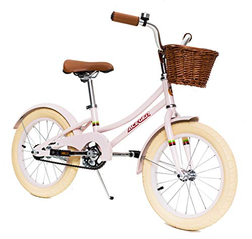 ACEGER Girls Bike with Basket for Kids, 14 inch with Training Wheels, 16 inch with Training Wheels and Kickstand, 20 inch with Kickstand. (Carnation, 16 inch)