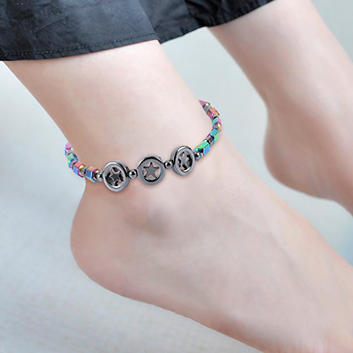 Magnetic Anklet, Hematite Stone Ankle Bracelet, Health Care Weight Loss Jewelry for Men Women (04#)