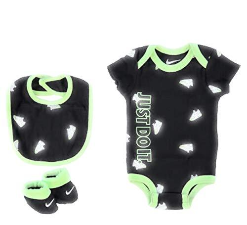 Nike Juego de 3 piezas para bebé (0-6 meses, Jumpman negro/verde) Baby Girl Niño Unisex