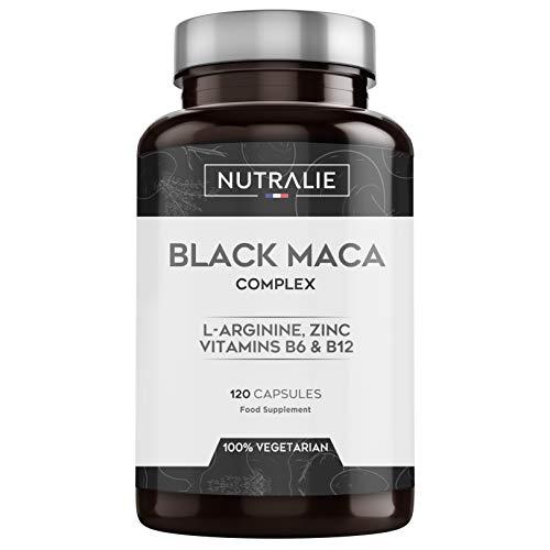 Maca Noire du Pérou équivalent à 24.000 mg par dose de 1.200mg avec L-Arginine, Zinc et Vitamines B6 B12   120 Gélules Végétales de Maca Hautement Concentrées 20:1 Nutralie
