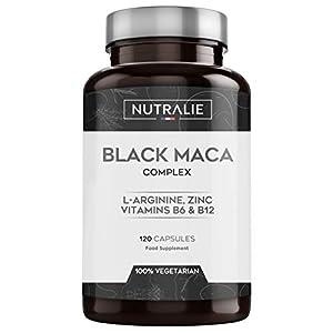 Maca negra andina con l-arginina, zinc y vitaminas b6 b12 | 120 cápsulas vegetales de maca | Black Maca Complex Nutralie