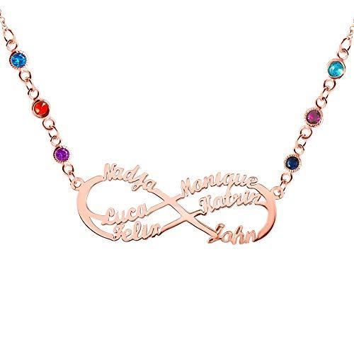 Collar Infinito Personalizado Chapado en Oro de 18 Quilates Colgante con Nombre de Madre e Hijo Colgante con Forma de corazón de Amor 6 Nombres y Piedras de Nacimiento