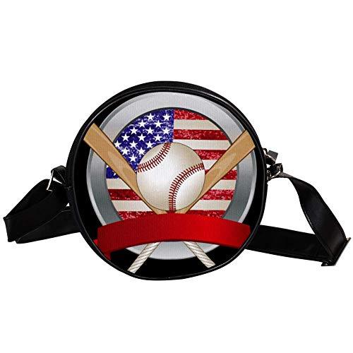 Bennigiry Damen Baseballtasche, rund, Umhängetasche, Messenger Bag für Mädchen
