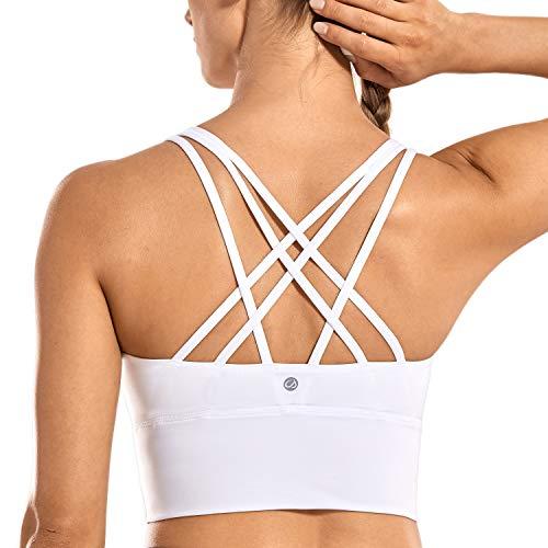 CRZ YOGA Damen Sport Yoga Longline BH- Abnehmbare Polsterung,Ohne Bügel, Kreuzentwurf Weiss M