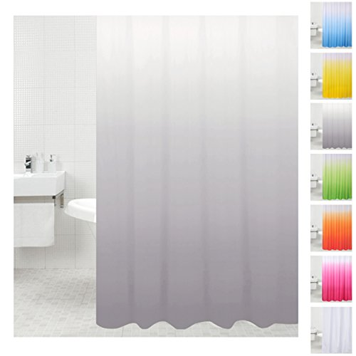 Sanilo Duschvorhang, viele einfarbige Duschvorhänge zur Auswahl, hochwertige Qualität, inkl. 12 Ringe, wasserdicht, Anti-Schimmel-Effekt (180 x 200 cm, Grau)