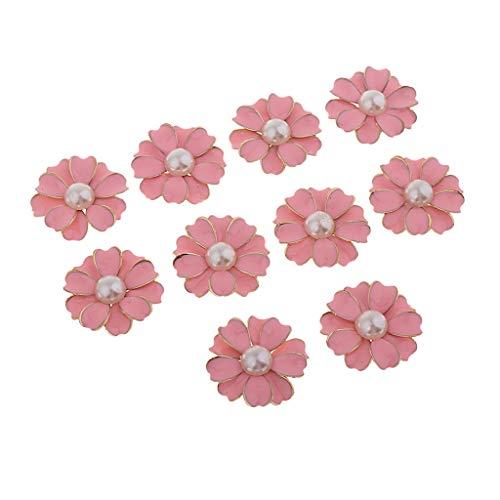 Sharplace 10pcs Flor de Margaritas de Metal Botón de Flores de Coser Ropa DIY, 32x32x5mm - rosa + perla