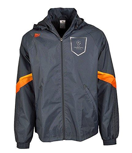 adidas UEFA UCL Climaproof Regenjacke Windjacke Windbreaker grau Gr S Kapuze