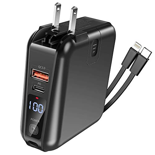 Portable Charger, 15000mAh 18W PD QC3.0 Power Bank Portable Battery Charger, 4 Output Dual Input Portable Phone Charger Battery Pack with Built-in Wall Plug,Type-C 2 Cables Compatible for iPhone etc