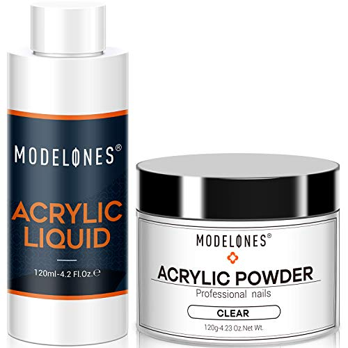 Modelones Acrylic Powder Clear Acrylic Powder Kit 4.23 oz + Professional Liquid Monomer 4.2 oz Nail System For Nail Extension Acrylic Powder and Liquid Set No Need Nail Lamp, Fas-tDry Powder, MMA Free Liquid