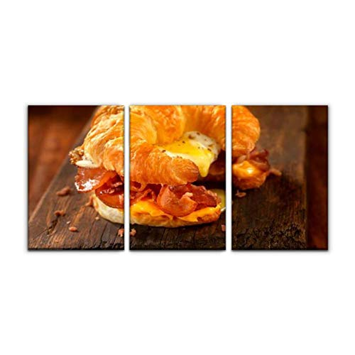 Modern Canvas Painting croissant breakfast sandwich with bacon,egg and cheese breakfast us Wall Art Artwork Decor Printed Oil Painting Landscape Home Office Bedroom Framed Decor (16'x24'x3pcs)
