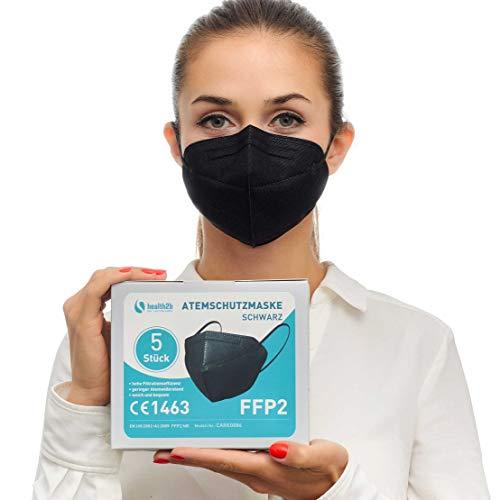 Health2b FFP2 Maske Schwarz CE Zertifiziert [5 Stück] CE1463 Atemschutzmaske Mundschutz, DERMATEST® sehr gut