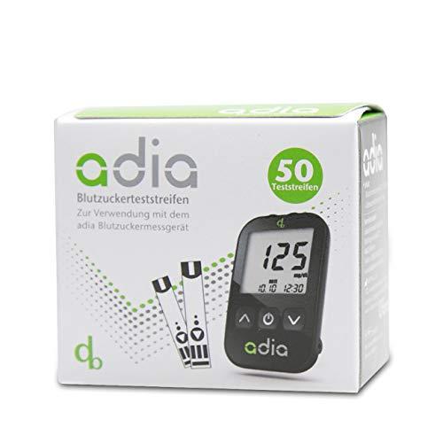adia Blutzuckerteststreifen, 50 Stück, die günstige und einfache Blutzuckermessung zur Blutzucker-Kontrolle bei Diabetes