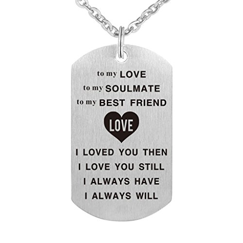 To My Love of My Life Best Friend and Soulmate Happy Birthday Dog Tag Necklace Jewelry Keychain Charm Gift