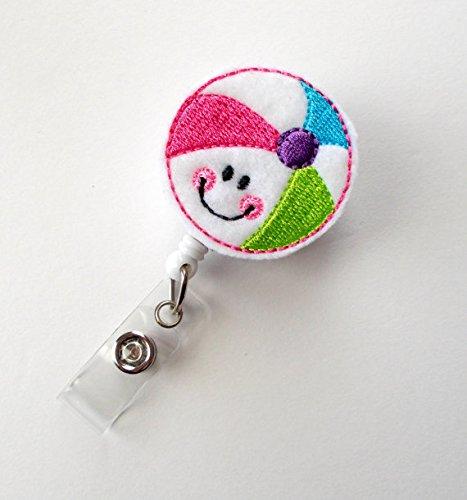 Smiling Beach Ball - Badge Reel - Medical Badge Holder - RN Badge Reel - Teacher Badge Holder - Nursing Badge Clip - Sea Pass Badge Photo #2
