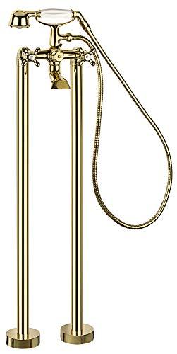 Retro Standarmatur Armatur Freihstehend Badewanne Kreuzgriff Gold Sanlingo Serie RIKE