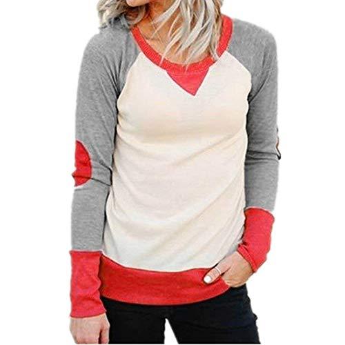Damen Kontrastfarbe Baumwoll Sweatshirt Basic Jumper Mit Ellenbogen Patch Classic Shirt Langarm Rundhals T-Shirt Tops Bluse Frauen (Color : Wassermelone, Size : S)