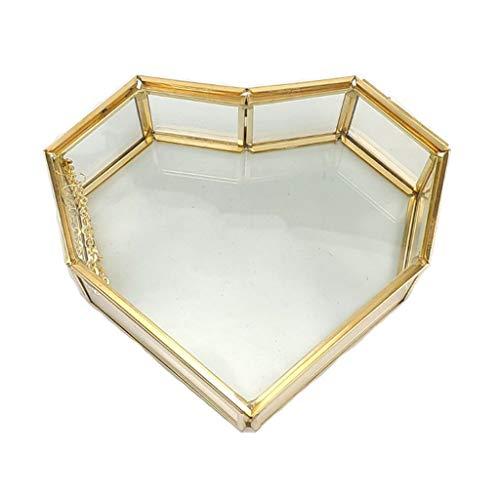 Joyero de cristal dorado, pequeño, hecho a mano, con forma de corazón, para boda, decoración de anillo y pendientes, caja de almacenamiento para escritorio, aparador