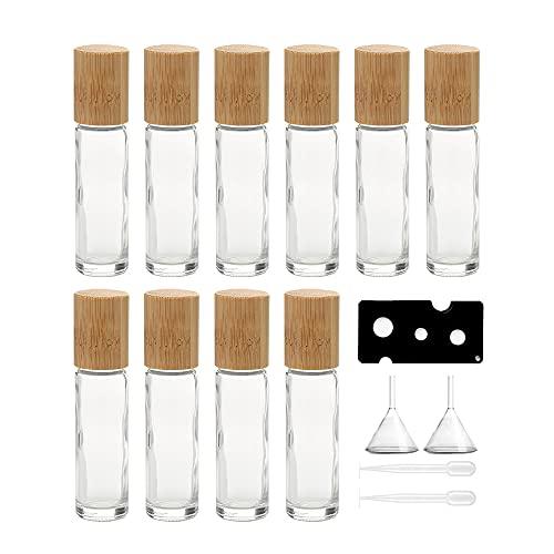 10 Stück 10 ml ätherische Öl-Roller-Flaschen mit Bambusdeckel, nachfüllbare Glas-Roll-On-Flasche, Parfüm-Probenflaschen mit Edelstahl-Rollerball