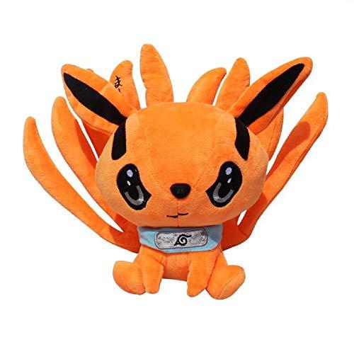 Wasoie Anime Naruto Kurama Kyuubi Nine-Tails Fox Plush Dolls Stuffed Short Plush Toys Gift Orange(Orange)