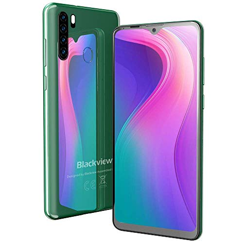 Blackview A80 PRO Smartphone Dual SIM Mobiele Telefoons met 6,49 inch Waterdrop Full-Screen, Quad Rear Camera, 4GB RAM + 64GB ROM, 4680mAh Grote batterij, Vingerafdruk, Face ID - Groen