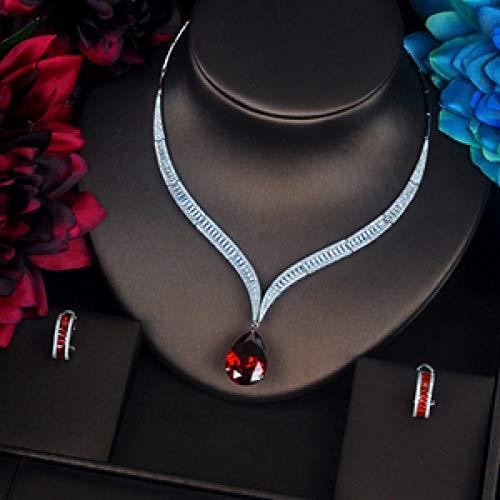 LIYDENG Joyería de lujo rojo gota de agua circonita cúbica mujer conjuntos de collar conjunto de joyería boda novia vestido accesorios fiesta Show (color: chapado en platino)