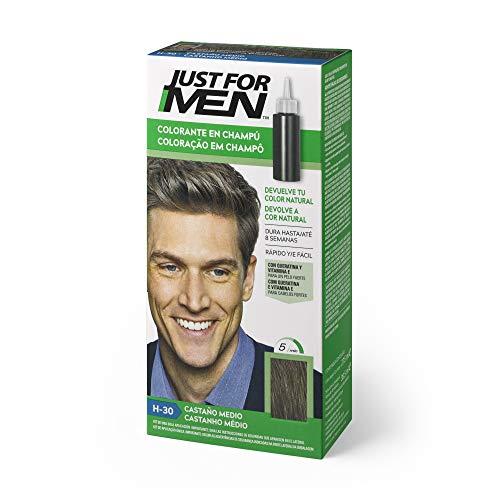 Just For Men - Champú colorante para cabello masculino, elimina las canas y rejuvenece el cabello en 5 minutos, 30 ml, marrón medio (El Empaque Puede Variar)