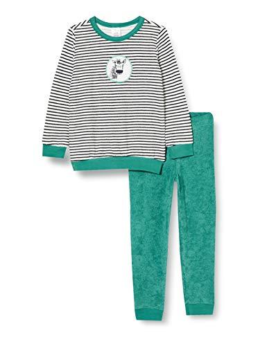 Schiesser Jungen Frottee Kn Schlafanzug Lang Pyjamaset, grün, 128