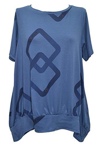 Kekoo Design Lagenlook, kurzärmeliges Top/Tunika, Übergrößen, Brustumfang: 101,6 - 121,9 cm Gr. Large, blau
