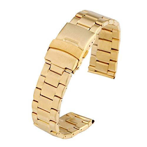 WNFYES Relojes de Acero 22MM de Oro Banda Flexible Enlace sólido reemplazo de muñeca Cierre desplegable de Pulsera Premium con Seguridad la Correa de Reloj Relojes Correas
