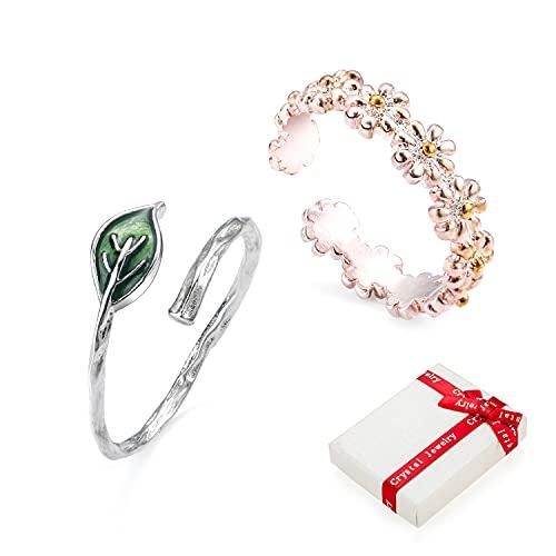 Crazy-M 2 anelli a margherita, regolabili, con margherite, aperti, idea regalo per donne con foglia dulivo regolabile, anello impilabile